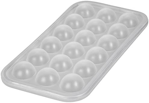 [Gesponsert]Levivo Silikon Eiswürfelform 18 Eiswürfel Halbkreis, Silikon Antihaft Eiswürfelbehälter, Eiswürfelbereiter Semi-Transparent 27 x 14 x 2,9 cm