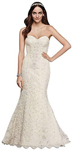 Extra Length Oleg Cassini Beaded Lace Trumpet Wedding Dress Style 4XLCRL277, White, 8