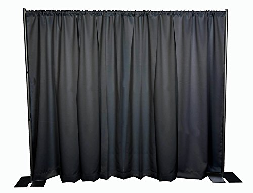 OnlineEEI Black Powdercoat Portable Pipe and Drape Backdrop Kit, Black Drapes by OnlineEEI