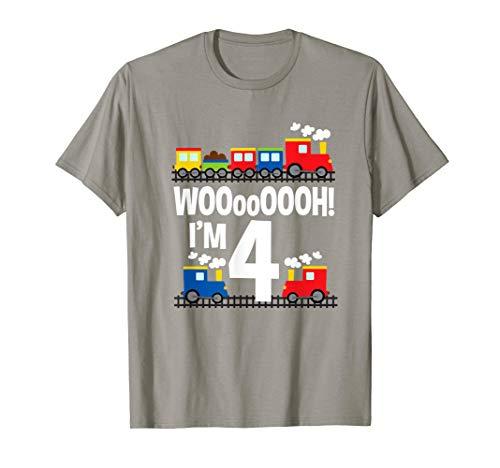 Boys WOOooOOOH! I'm 4 Trains Birthday T-Shirt for Toddlers
