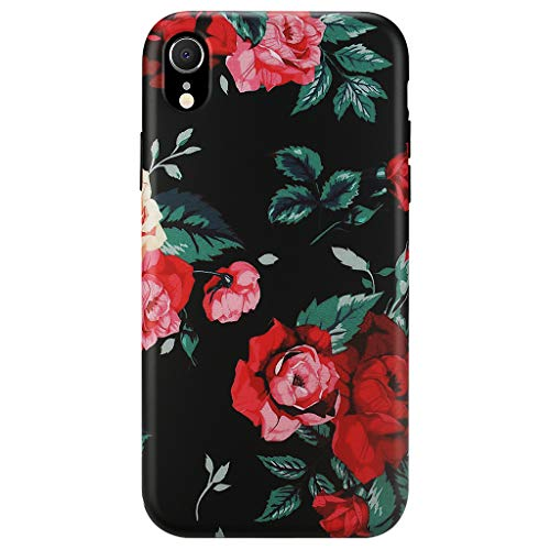 (GOLINK Case for iPhone XR, Matte Finish Floral Series Slim-Fit Ultra-Thin Anti-Scratch Shock Proof Dust Proof Anti-Finger Print TPU Gel Case for iPhone XR 6.1 inch(Floral #8 Red Rose))