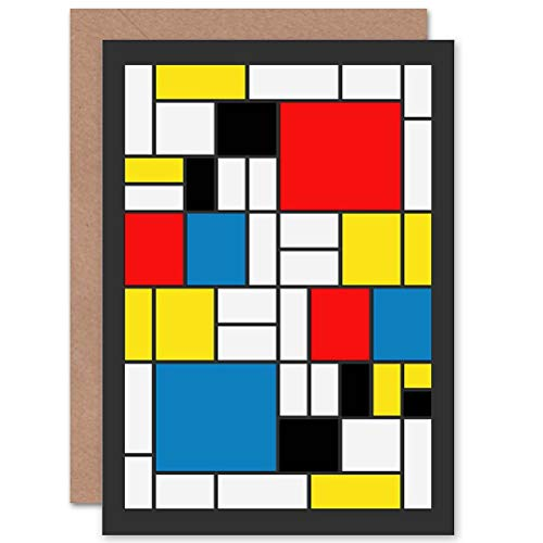 Wee Blue Coo PIET Mondrian Abstract Cubes Squares Old Master Painting Greetings Card