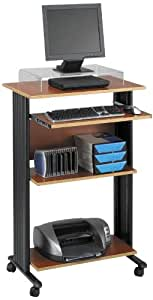 "Safco Products 1923CY Muv 45"" H Stand-Up Desk Fixed Height Computer Workstation with Keyboard Shelf, Cherry"