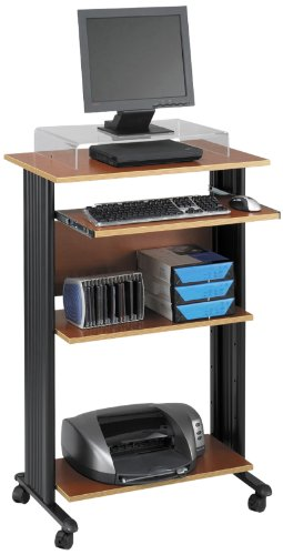 "Safco Products 1923CY Muv 45""H Stand-Up Desk Fixed Height Computer Workstation with Keyboard Shelf, Cherry"
