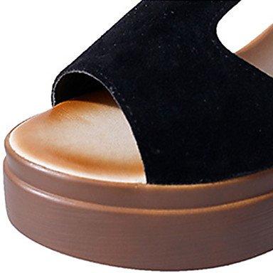 LvYuan Mujer Sandalias PU Primavera Verano Hebilla Tacón Cuña Negro Verde Ejército Morrón Oscuro 7'5 - 9'5 cms Black
