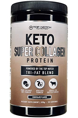 Keto Collagen Protein Powder w/Top Notch Tri-Fat Blend Featuring Avocado Powder, MCT Oil Powder, Grass Fed Butter Powder. Use in Smoothies, Coffee Creamer, or in Baking & Recipes (Chocolate)