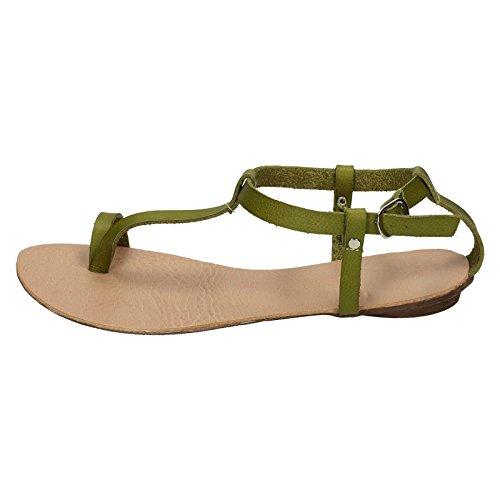 Spot On F0570 Flat Toeloop Sandal Ankle Strap Green to8vQIZ2c6