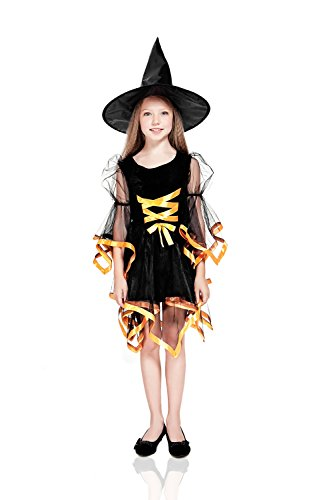 Kids Girls Ribbon Witch Halloween Costume Gothic Sorceress Dress Up & Role Play (3-6 years, black, orange) (Cool Teenage Girl Halloween Costume Ideas)