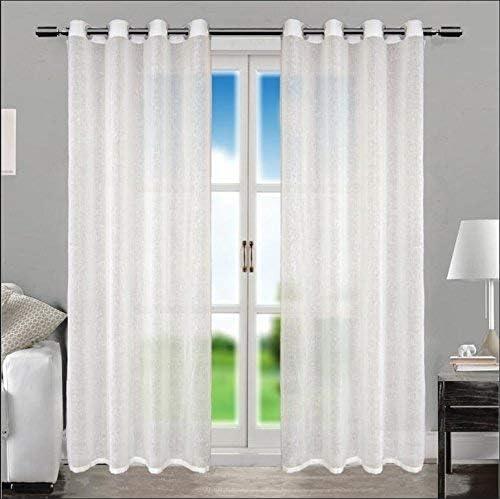 Trust Living Room Bedroom White Long Grommet Cotton Linen Window Curtain Drapes 52 X 108
