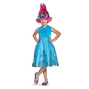 Poppy Deluxe W/Wig Trolls Costume, Blue, Small (4-6X)