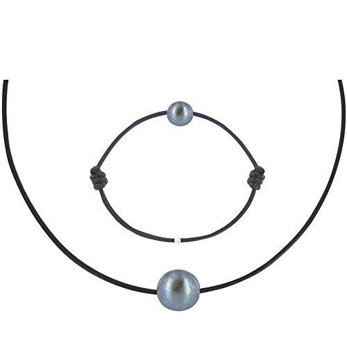 Les Poulettes Bijoux - Set Collier Bracelet Lien Perle Noire des Poulettes Lien Noir