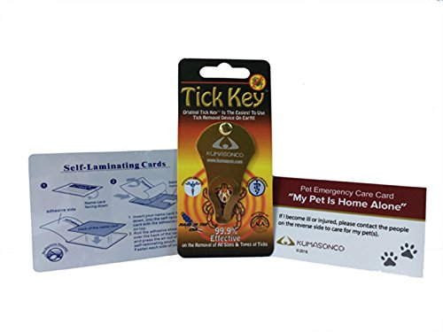 Tick Remover Key with Pet Emergency Card and Self Laminating Pouch (Gold)