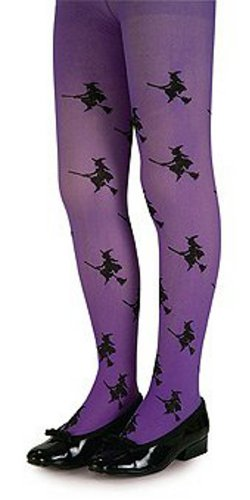 Girls Purple Glitter Witch Tights (Purple Glitter Witch Tights (Large fits 70-100 lbs) - 6809)