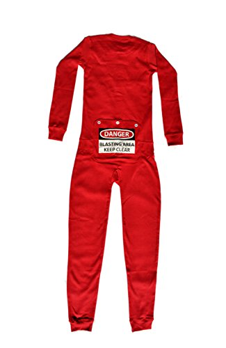 Red Union Suit Boys & Girls Kids Pajamas Danger Blast Area Sign on Rear Flap, Kids 4-14