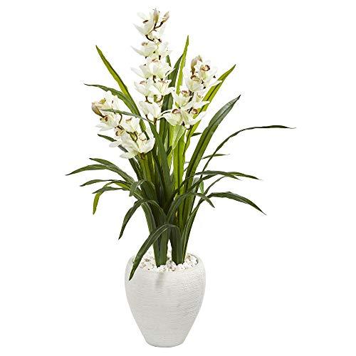 (Nearly Natural 9444 4' Cymbidium Orchid Artificial White Planter Silk Plants Green)