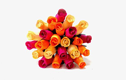24 Realistic Wooden Roses Flowers - Oranges & Pinks - You Are My -