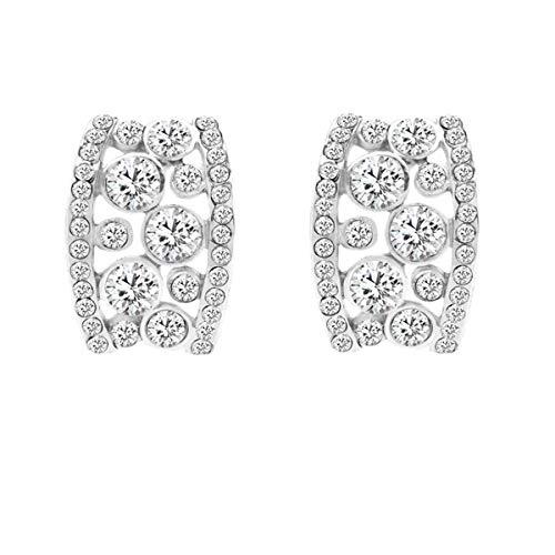 Bellina Elegant Crystal Classic Diamante Semi Half Hoop Earring with Hypoallergenic Stainless Steel Stem (Half Hoop Crystal) ()