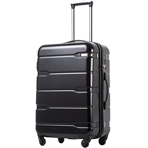 Coolife Luggage Expandable Suitcase PC+ABS Spinner 20in 24in 28in Carry on (black, L(28in).)