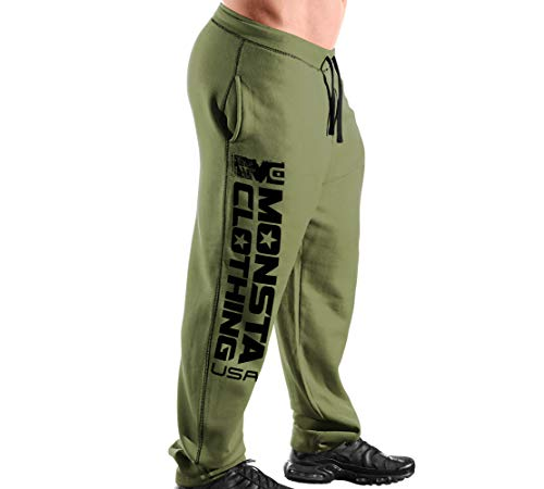 Elite Series Men's (Open-Bottom) Sweatpants MC-Monsta Clothing (USA)-313 (Military Green/Black Art, Large)
