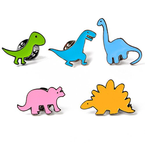 Cute Enamel Lapel Pins Sets Cartoon Animal Plant Fruits Foods Brooches Pin Badges for Clothing Bags Backpacks Jackets Hat DIY (Dinosaurs Set of 5)