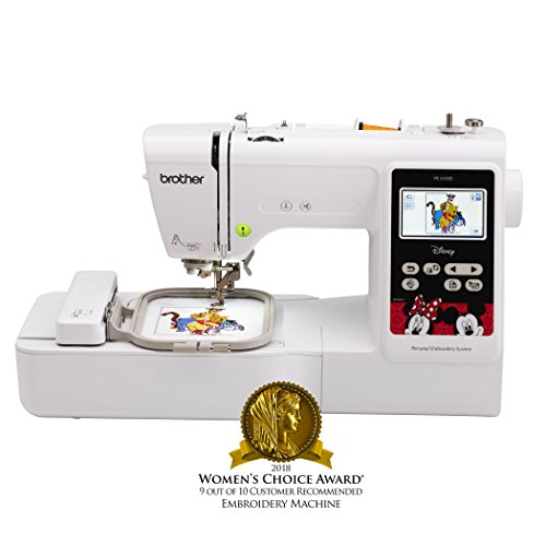 - Brother Embroidery Machine, PE550D, 125 Built-In Designs, 45 Disney Designs, Large Color Touch LCD Display, Automatic Needle Threader, 25-Year Limited Warranty
