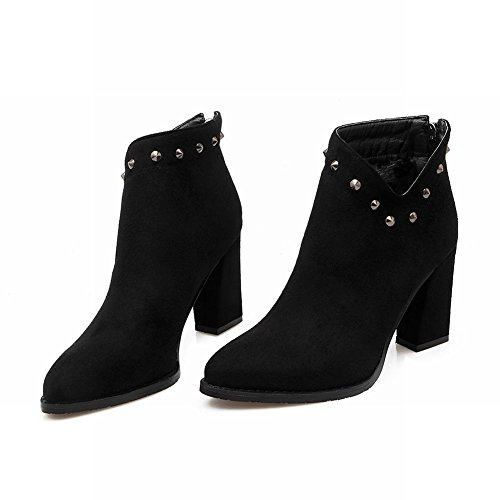 6f6a153c316c Latasa Women s Studded Faux Suede Pointed Toe Block High Heels Ankle Boots  high-quality