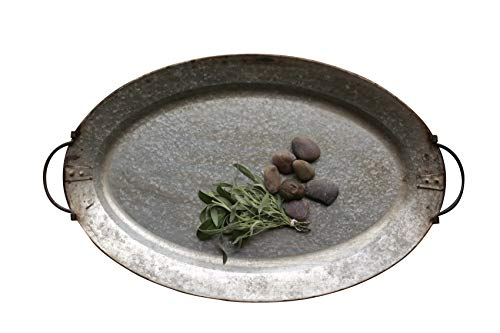 Creative Co-op Decorative Metal Tray with Handles (Decorative Tray Metal)