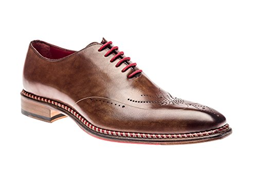 - Jose Real Shoes Veloce Collection | Mens Oxford Burgundy Brown Red Genuine Real Italian Leather Dress Shoe | Size EU 42