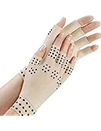 Thobu Adult Magnetic Therapy Fingerless Gloves Arthritis Pain Relief Heal Joints Braces Supports Half Finger Mittens Wrist Length Health Care Tool Fresh Color