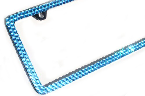 Blue Rhinestone Cover - Hotblings 2 Rows TURQUOISE BLUE FULL Cover Rhinestone Crystal Bling Sparkle License Plate Frame & Caps Set