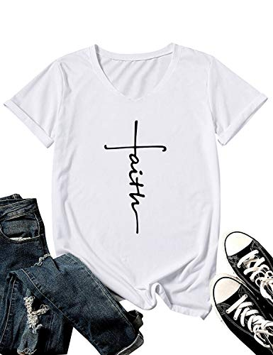 ZXH Women Cross Faith Letter Print T-Shirt Short Sleeve Solid Color Top Blouse Make Sure The Item is Sold by ZhangXH (M, V-Neck White)