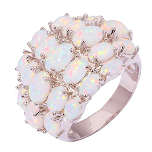 - MARRLY.H Luxury Large Fire Opal Finger Rings Silver Plated Wide Ring with White Stone Cocktail Party Jewelry Best Gifts for Woman 8