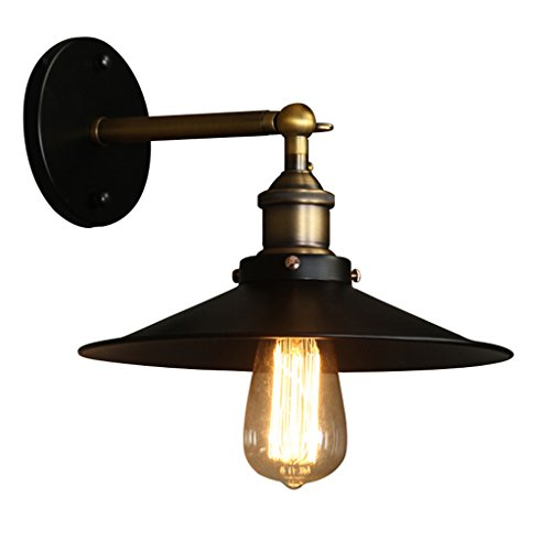 Vintage Edison Wrought Iron Wall Lamp, American Country Bedroom Study Wall Lamp, Simple Style Aisle Balcony Single Head Wall Lamp