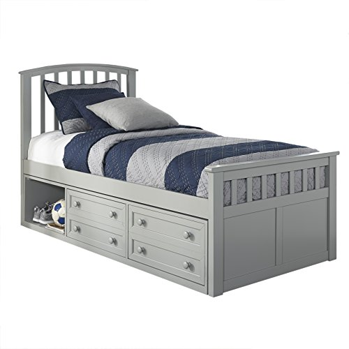 Hillsdale Furniture 2311CCTB Hillsdale Charlie Captains Bed with One Storage Unit, Twin Gray
