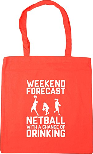 Chance Tote HippoWarehouse Netball Bag Coral Forecast Gym with 10 Weekend of 42cm x38cm Shopping a Drinking Beach litres x88SXR