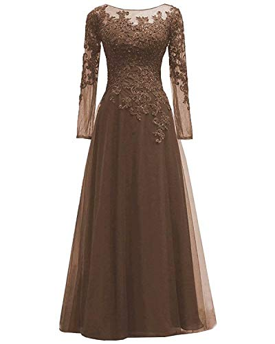 Women's Lace Appliques Mother of The Bride Dress Tulle Long Sleeves Evening Prom Gown BeadedBrown 26 Plus