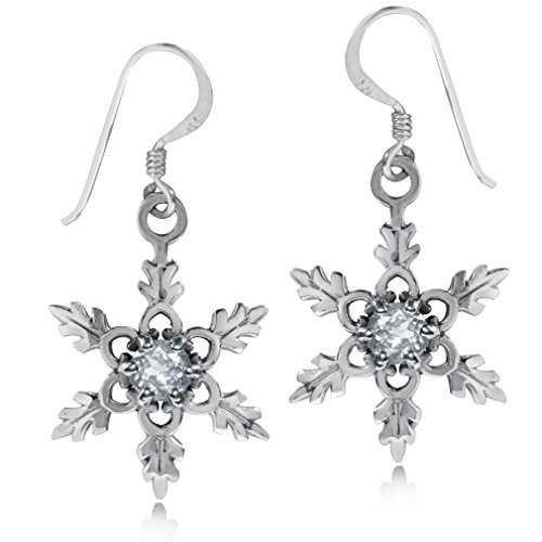 (Genuine White Topaz 925 Sterling Silver Snowflake Dangle)