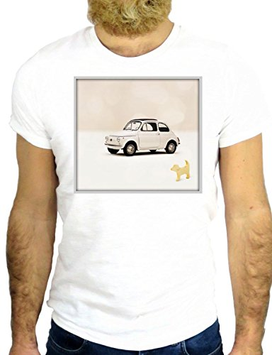 T SHIRT 500 CINQUECENTO COOL VINTAGE MADE IN ITALY CAR USA HIPSTER NICE GGG24 ROME BIANCA - WHITE XL