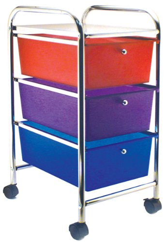 Home Center Rolling Cart with 3 Drawers - Multicolor 1 pcs sku# 633558MA by Advantus