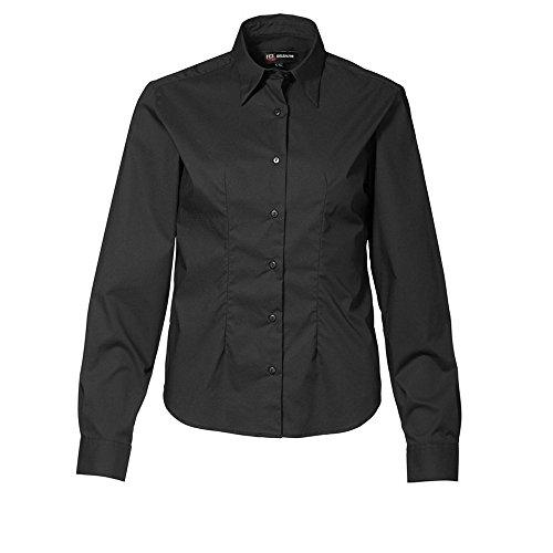 ID - Camisa elástica de manga larga ajustado medio modelo Stretch para mujer señora Negro