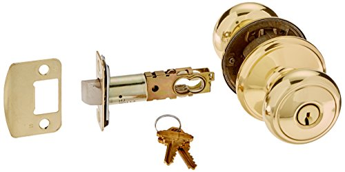 Schlage F80-AND Andover Storeroom Door Knob Set with Andover Rosette from the F-, Polished Brass