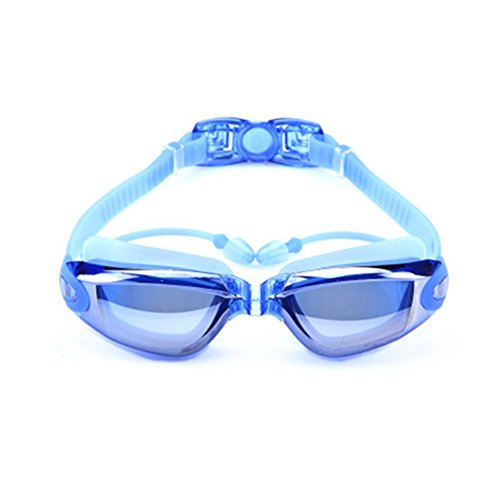 Swimming Goggles,Mirror Coated Lenses Anti-Fog Shatterproof UV Protection Swimming Glasses with Ear Plugs by Rekukos (Blue) (Homemade Minion Costume)