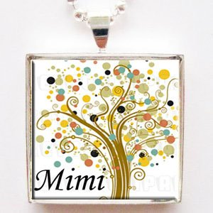 Mimi Tree Of Life Glass Tile Grandmother Pendant Necklace With Chain