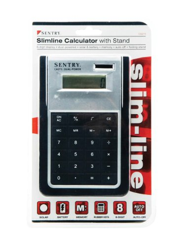 - Sentry Slimline Calculator with Stand, Silver/Black (CA273)