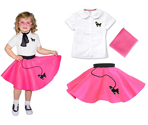 Toddler 3 Piece Poodle Skirt Costume Set Hot Pink 2T