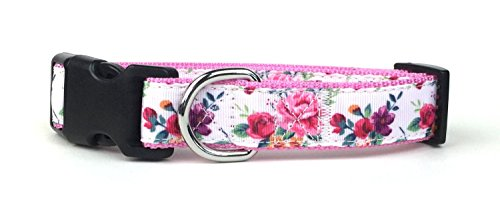 Midlee Rose Floral Nylon Ribbon Dog Collar (Medium)