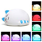 One Fire Baby Nursery Night Light for Kids, Cute Cat Soft Silicone Animal Night Lamp, Tap Control Color Changing Bedroom Breastfeeding Nightlight for Newborn Toddler Children Infant Girls (Naughty)