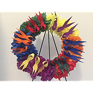 COLLEGE PRIDE - SPIRIT - SM GAY PRIDE WREATH 3 - LGBTQ - STUDENT ORGS - DIVERSITY GRPS - GAY PRIDE - DORM - COLLECTOR WREATH - RED, ORANGE, YELLOW, GREEN, BLUE & PUPLE CARNATIONS & ALTERNATING RIBBON 114