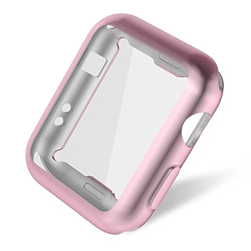 Apple Watch 3/2 Screen Protector 38mm, UMTELE Plated TPU Case Integrated Screen Protector Slim Lightweight Protective Bumper Cover for Apple Watch Series 3 2 Rose Gold Photo #3