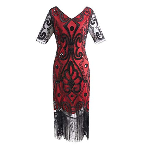 - Women 1920S Flapper Dress Vintage - Sequin Fringed Gatsby Dresses Art Decor with Sleeves for Roaring 20S Party,MILIMIEYIK Red